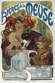 """Fine Art Print Advertising poster for """""""" Les bieres de la Meuse"""""""" illustrated by Alphonse Mucha  1898 Paris, Decorative Arts"""
