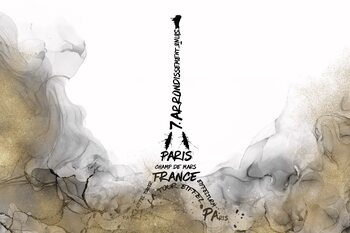 Illustration ALCOHOL INK Eiffel Tower Typography