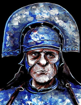 Taidejuliste Anthony Hopkins as Titus Andronicus-  colour caricature