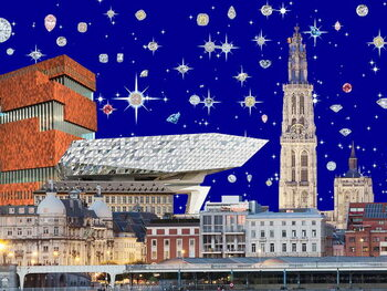 Taidejuliste Antwerp by night, 2018, screenprint