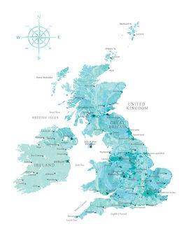 Map Aquamarine watercolor map of the British Islands