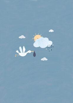 Ilustração Baby boy stork