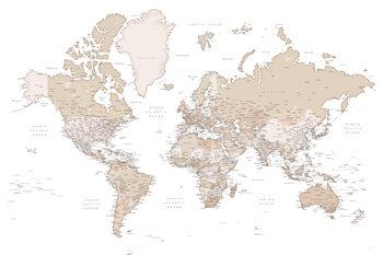 Mapa Beige detailed wold map, Louie