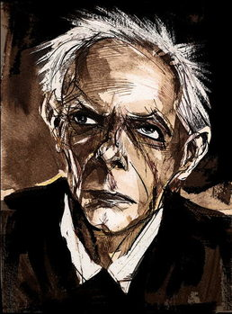 Fine Art Print Bela Bartok by Neale Osborne,  Caricature in pen and water colour