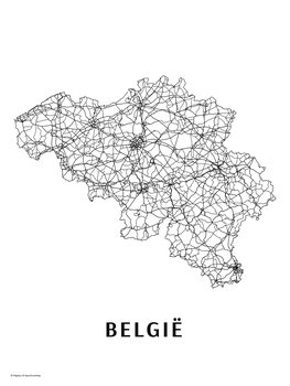 Map Belgie black & white