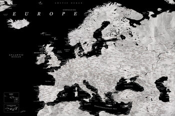 Kartta Black and grey detailed map of Europe in watercolor