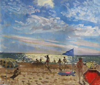 Reprodução do quadro Blue flag and red sun shade, Montalivet