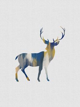 Illustration Blue & Yellow Deer
