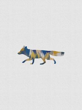 Illustration Blue & Yellow Fox