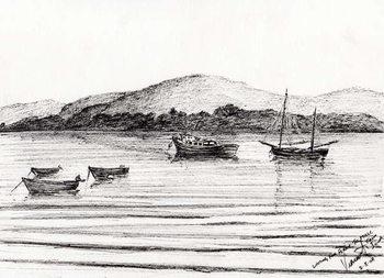 Fine Art Print Boats off Iona, 2007,