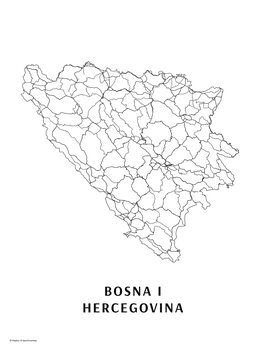 Map Bosna i Hercegovina black & white