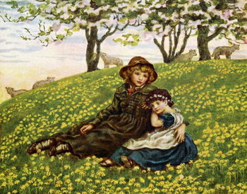 Taidejuliste 'Brother and sister'  by Kate Greenaway.