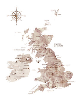 Map Brown watercolor map of the British Islands