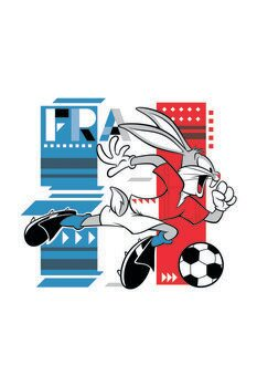 Art Poster Bunny and football