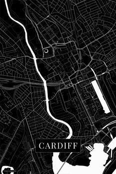 Map Cardiff black
