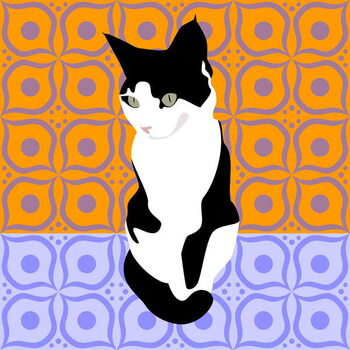 Taidejuliste Cat on Morrocan Tiles