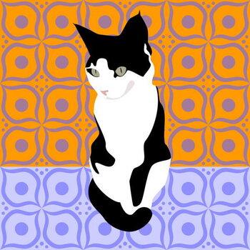 Fine Art Print Cat on Morrocan Tiles