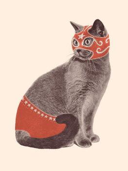 Taidejuliste Cat Wrestler