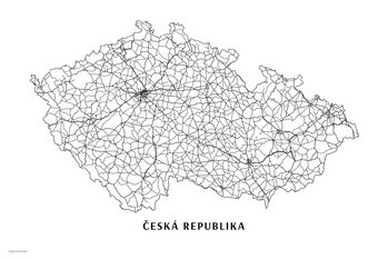 Map Česká republika black & white