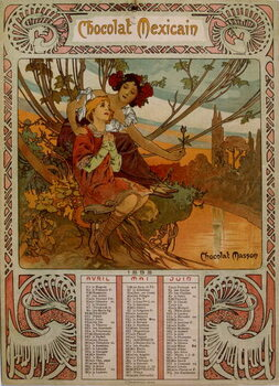 Fine Art Print Chocolate Masson calendar illustrated by Mucha .