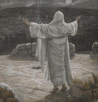 Fine Art Print Christ Retreats to the Mountain at Night