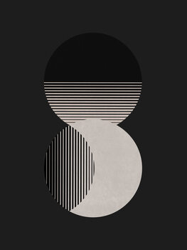 Illustration Circle Sun & Moon BW