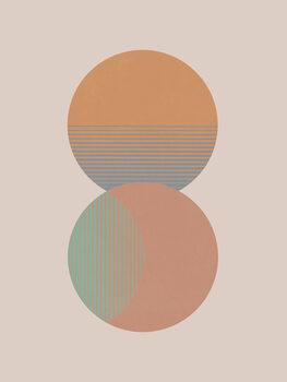 Illustration Circle Sun & Moon Colour