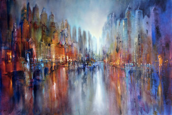 Illustration City at the riverside