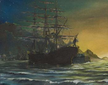 Taidejuliste Clipper ship in port 1860's, 1991,