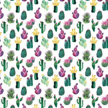 Ilustração Colorful painterly cacti