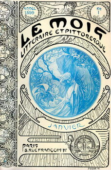 Fine Art Print Cover of the magazine (monthly magazine) The Litterary and Picturesque Month by Alphonse Mucha : January 1899 - Maison de la Bonne Presse -