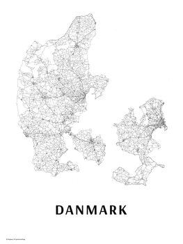 Map Danmark black & white
