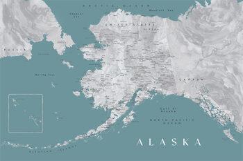 Map Detailed map of Alaska en teal and grey watercolor