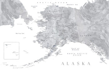 Map Detailed map of Alaska in grayscale watercolor