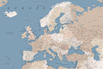 Map Detailed map of Europe in blue and taupe