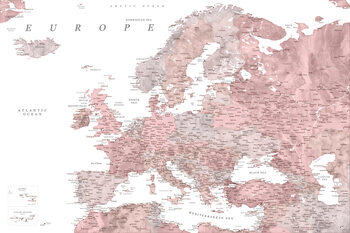 Map Detailed map of Europe in dusty pink and grey watercolor