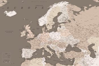 Map Detailed map of Europe in earth tones