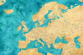 Map Detailed map of Europe in gold and teal watercolor