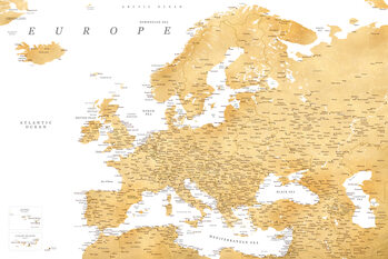 Map Detailed map of Europe in gold