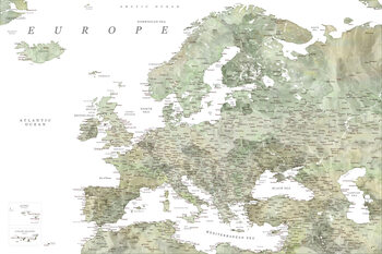 Map Detailed map of Europe in green watercolor