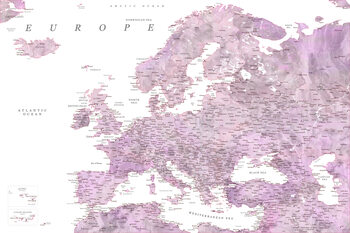 Map Detailed map of Europe in mauve watercolor