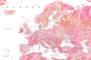 Map Detailed map of Europe in pink watercolor