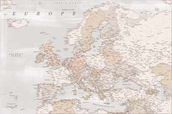 Mapa Detailed map of Europe in rustic style