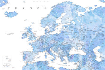 Map Detailed map of Europe in shades of blue watercolor