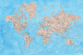 Map Detailed watercolor world map in brown and blue, Bree