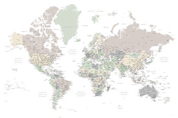 Kartta Detailed world map with cities in muted down colors, Anouk
