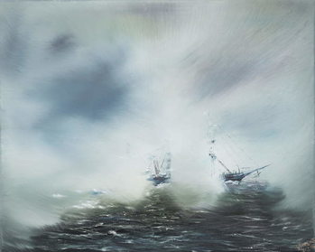Fine Art Print Discovery Clearing in sea mist Scott en route to Antarctica