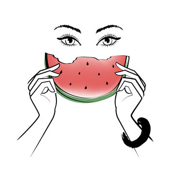 Illustration Eating Melon