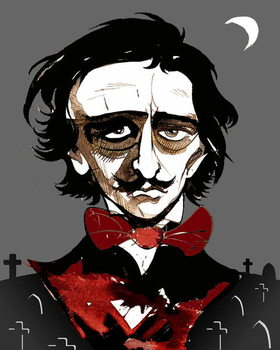 Taidejuliste Edgar Allan Poe - colour caricature