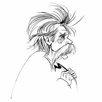Fine Art Print Edvard Grieg, Norwegian composer , sepia line caricature